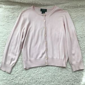 Lauren Ralph Lauren Silk Blend Pale Pink Sweater